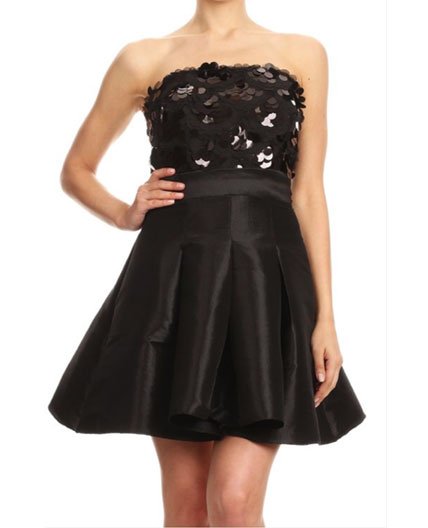 Ivory Taffeta Short Dress Black Strapless Short Dress Bat Mitzvah