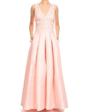 V-neck Taffeta Ball Gown w/Lace Top- 3 Colors