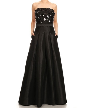 Black Strapless Taffeta Ball Gown w/Sequins