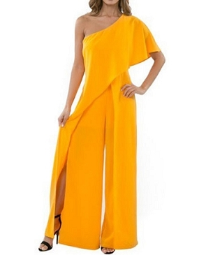 One Shoulder Jumpsuit w/Slits- 2 Colors