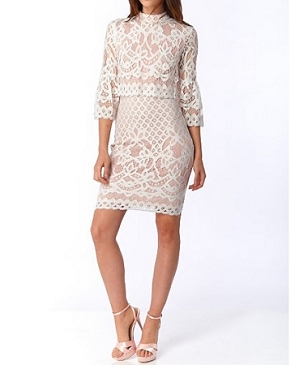 White Lace Bell Sleeve Midi Dress