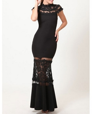 Black Mockneck Formal Dress w/Sheer Panels