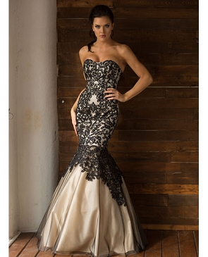 Black and Champagne Mermaid Evening Gown