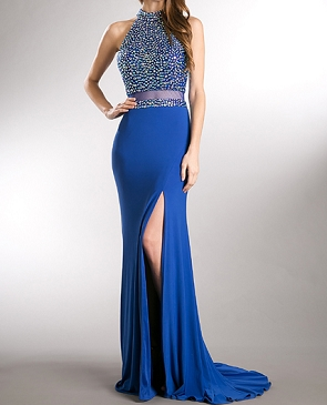 Royal Blue Beaded Mockneck Evening Dress