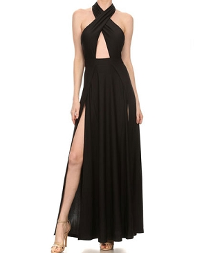 Black Criss Cross Halter Dress w/Slits