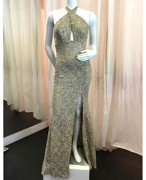 Gold Lace Keyhole Halter Evening Dress