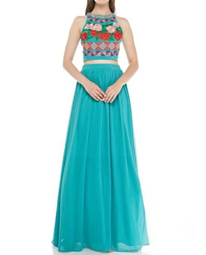 Aqua Green Crop Top and Skirt Set