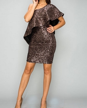 Bronze Sequins One Shoulder Mini Dress
