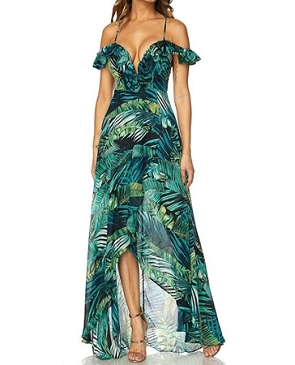 Tropical Leaves Print Hi Low Dress