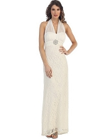 Ivory Lace Halter Formal Dress