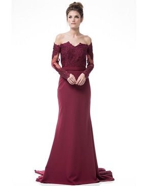 Burgundy Off the Shoulder Lace Evening Gown