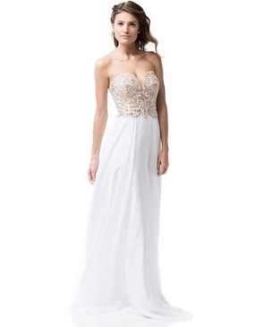 White Chiffon Strapless Formal Gown w/Rhinestone Bustier