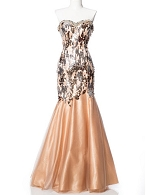 Gold Sequins Trumpet Dress