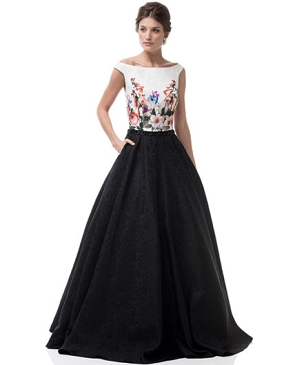 Black and White Floral Ball Gown
