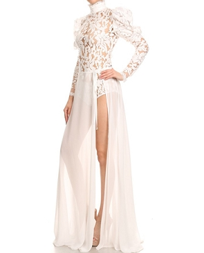 L/S Lace Bodysuit w/Chiffon Wrap Skirt- 2 Colors