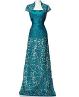 Teal Guipure Evening Dress w/Bolero Jacket