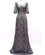 Grey L/S Guipure Lace Evening Gown
