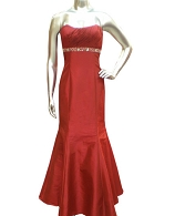 Strapless Red Taffeta Dress w/Bolero