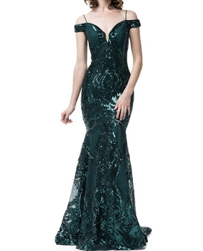 Emerald Sequins Off the Shoulder Evening Dress