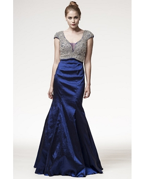 Navy Blue Taffeta Gown w/Silver Trim Top