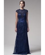 Navy Guipure Lace Evening Gown w/Trims