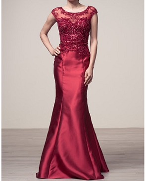Burgundy Cap Sleeve Lace and Mikado Mermaid Gown