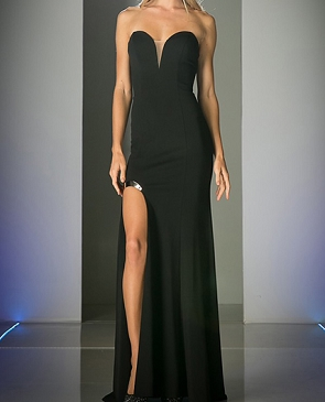 Sweetheart Strapless Jersey Gown w/High Slit- 3 Colors