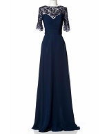Navy Evening Dress w/Mesh Beaded Sleeves