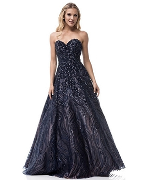 Navy Sequins Strapless Ball Gown