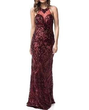 Burgundy Sequins Halter Dress w/Open Back