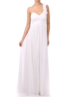 White Jersey Chiffon Long Dress w/Rosets