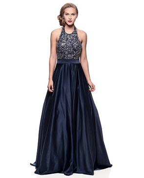 Navy Halter Ball Gown w/Sequins Trims