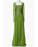 Sage Green Chiffon Evening Dress w/Bolero