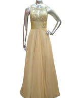 Champagne Chiffon Evening Dress