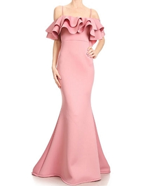 Scuba Flameno Ruffles Evening Dress- 3 Colors