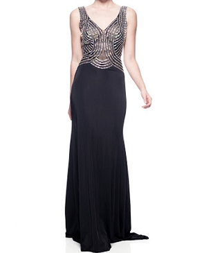 Black Jersey Gown w/Iridescent Beads