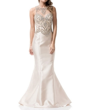 Ivory Mermaid Evening Gowns w/Rhinestone Trims