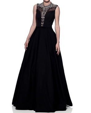 Black Ball Gown w/Mod Victorian Beaded Neckline