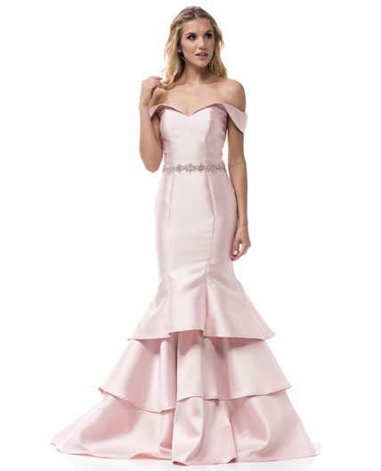 Blush Pink Evening Gown Miami, Blush Off the shoulder Evening Dress ...
