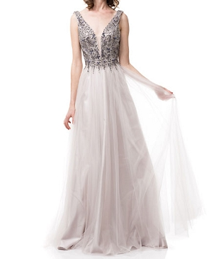 Lilac Tulle Evening Dress w/Beaded Bodice