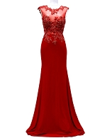 Red Lace and Jersey Evening Gown w/Open Back