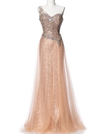One Shoulder Rose Gold Sequins and Tulle Dress