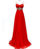 Red Chiffon Evening Dress w/Rhinestones