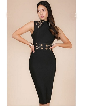 Black Bandage Dress w/Gold Chains