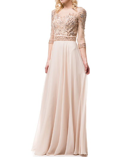 Champagne Long Sleeve Evening Dress, Champagne Mother of the Bride ...