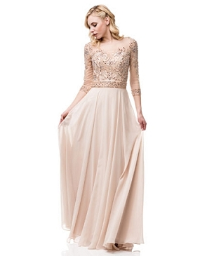 Champagne L/S Evening Dress w/Rose Gold Bead Trim- Plus Size