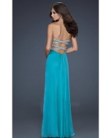 Green Chiffon Formal Dress w/Open Back