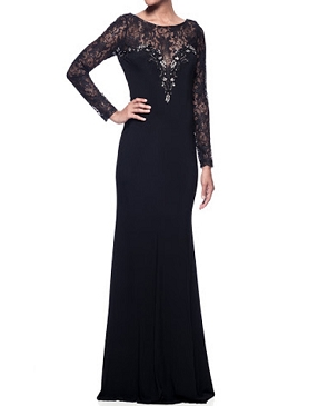 Black L/S Lace and Jersey Gown