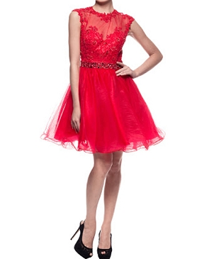 Red Short Tulle Dress w/Lace Bodice