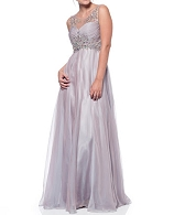 Mauve Chiffon Evening Dress w/Rhinestones